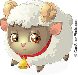 sheep - beautiful picture of a sheep on a white background
