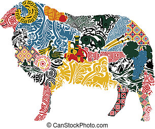 silhouette of a sheep in the Georgian ornament