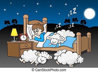 sheep, insomne, cama, dormido, otoño, hombre