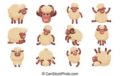 sheep, jogo, estilo, caricatura, ícones