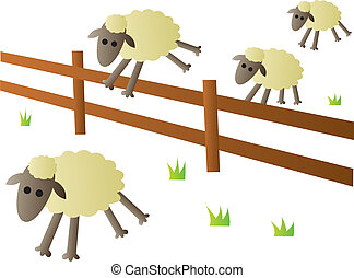 Sheep Jumping Fence - An illustration of the classic...