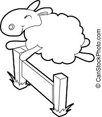 Sheep jumping over barrier icon, outline style