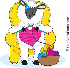 A ewe is in a yellow armchair, knitting a big red heart.