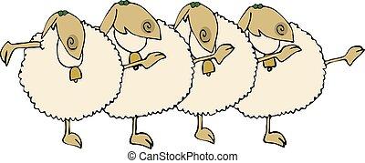 sheep, línea de coro