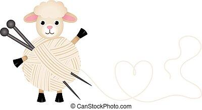 sheep, lana, tejido de punto, hilo, n