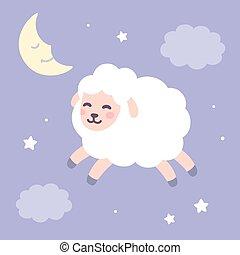 sheep, lindo, cielo, plano de fondo, noche