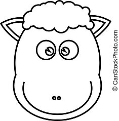 Sheep line drawing for coloring book