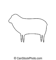 Sheep line icon. Farm animal