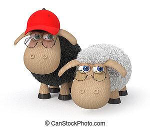 sheep, llevando, ridículo, lentes, 3d