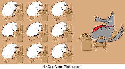 sheep, lobo, oficina