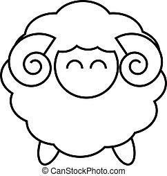 Sheep logo design in black line on white background