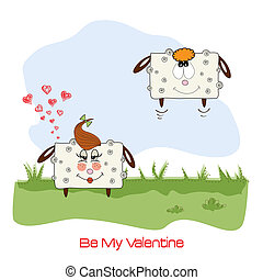 sheep lovers, comic illustration for Valentine's day or wedding