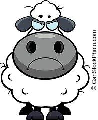 sheep, malhumorado, caricatura