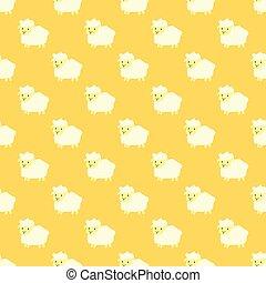 sheep., modèle, seamless, jaune, vecteur, dessin animé
