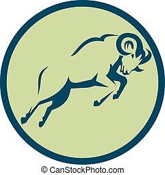 sheep, montaña, círculo, saltar, icono