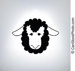 sheep, negro, silueta