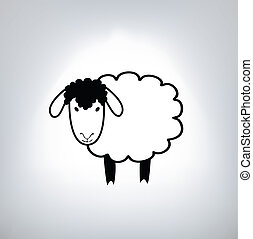 sheep, negro, silueta