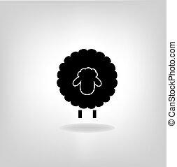 sheep, negro, silueta, plano de fondo, luz