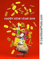 Sheep, New Year's Ornaments, Cart