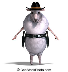 sheep of the wild west - 3D rendering of a sheep of the wild...