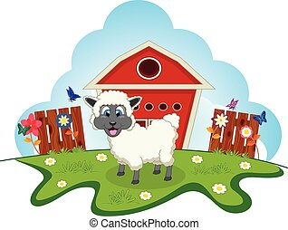 Sheep on farm cartoon