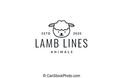 sheep or goat head line smile cute cartoon logo vector  illustration