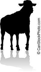 Sheep or Lamb Farm Animal in Silhouette