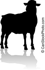 A sheep or lamb farm animal in silhouette