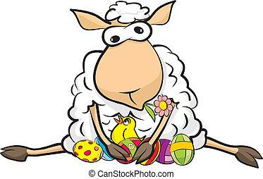 sheep, -, páscoa, surpreendido, feliz