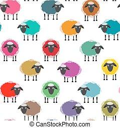 sheep, padrão, seamless, coloridos