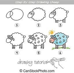 sheep, passo, desenho
