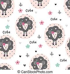 sheep, patrón, seamless, lindo