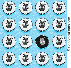Sheep Pattern - A seamless repeating cartoon pattern with a...