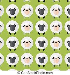 Sheep Pattern. Modern Flat Design 1