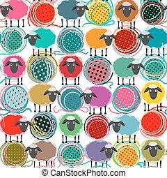sheep, pelotas, colorido, patrón, seamless, hilo