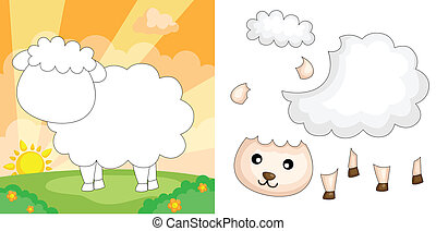 Sheep puzzle - A vector illustration of a sheep puzzle