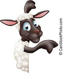 sheep, redondo, señalar, señal
