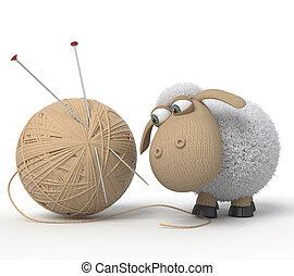sheep, ridículo, 3d