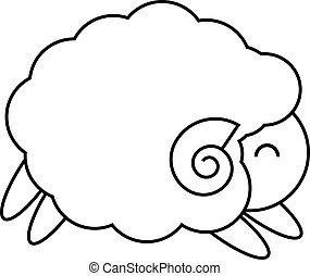 Sheep running logo design in black line on white background