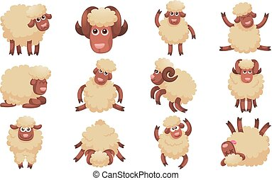 sheep, sätta, stil, tecknad film, ikonen