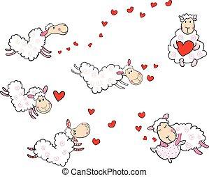 sheep, söt, bilda, hjärtan