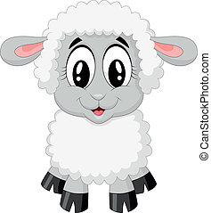 sheep, söt, tecknad film