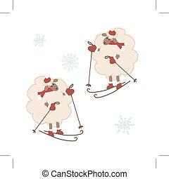 Sheep santa skiing, symbol of new year 2015