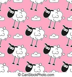 Sheep. Seamless Pattern. Vector Illustration. Cartoon Sheep...