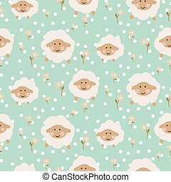Sheep seamless vector baby pattern.