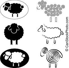 sheep, silhuetas, pretas