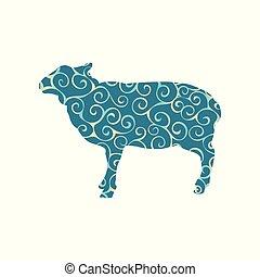 sheep, silueta, fazenda, padrão, espiral, cor, animal, mamífero