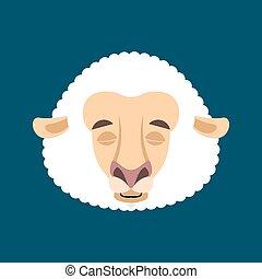 sheep, sinnesrörelse, emoji., lantgård, face., illustration, sova, vektor, sovande, tacka, djur, avatar