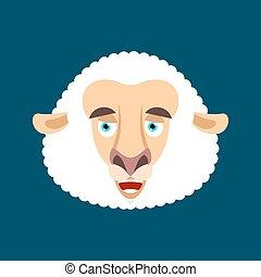 sheep, sinnesrörelse, emoji., lantgård, merryl, tacka, ansikte, avatar., vektor, illustration, animal., lycklig