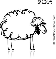 Sheep sketch, symbol of new year 2015